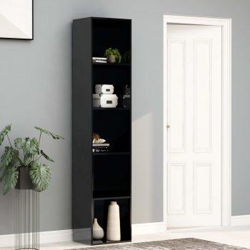 Knjižna omara visok sijaj črna 40x30x189 cm iverna plošča