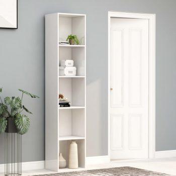 Knjižna omara visok sijaj bela 40x30x189 cm iverna plošča