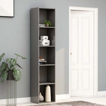 Knjižna omara visok sijaj siva 40x30x189 cm iverna plošča