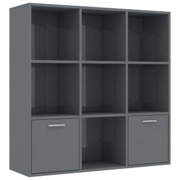 Knjižna omara visok sijaj siva 98x30x98 cm iverna plošča