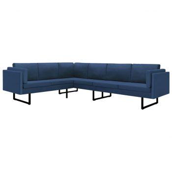 Kotni kavč iz modrega blaga