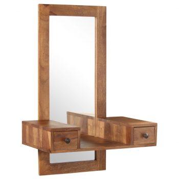 Kozmetično ogledalo z 2 predaloma trden palisander