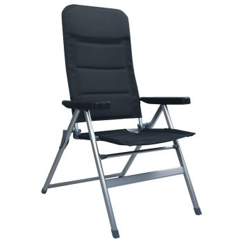 Nastavljivi vrtni stoli 2 kosa aluminij črne barve