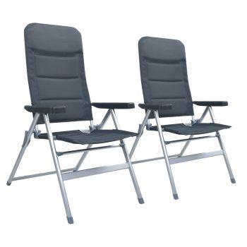 Nastavljivi vrtni stoli 2 kosa aluminij sive barve