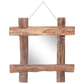 Ogledalo iz hlodov naravno 50x50 cm trden predelan les