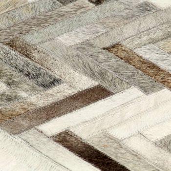 Preproga iz pravega kosmatega usnja 80x150 cm siva/bela