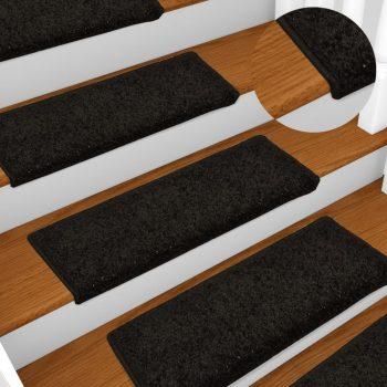Preproge za stopnice 15 kosov 65x25 cm črne