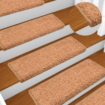 Preproge za stopnice 15 kosov 65x25 cm rjave