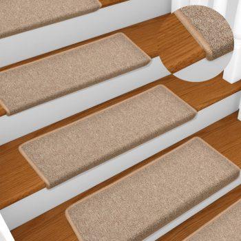 Preproge za stopnice 15 kosov 65x25 cm svetlo rjave