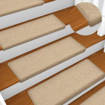 Preproge za stopnice 15 kosov 65x25 cm taupe