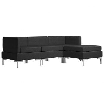 Sedežna garnitura 4-delna blago črna