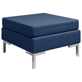 Sekcijski stolček za noge z blazino blago moder