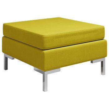 Sekcijski stolček za noge z blazino blago rumen