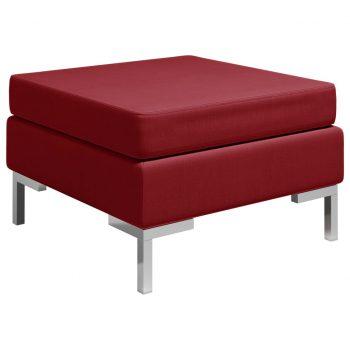 Sekcijski stolček za noge z blazino blago vinsko rdeč