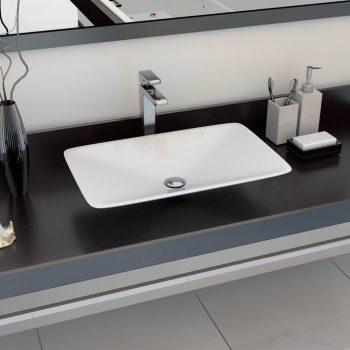 Umivalnik 60x38x10 cm liti mineral / liti marmor bel