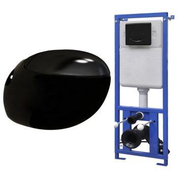 Viseča WC školjka jajčasta z vgradnim kotličkom črna