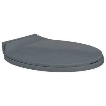 WC deska s počasnim zapiranjem siva ovalna