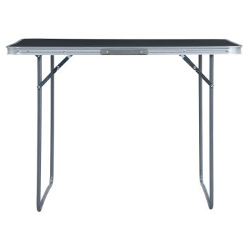 Zložljiva miza za kampiranje siva iz aluminija 120x60 cm