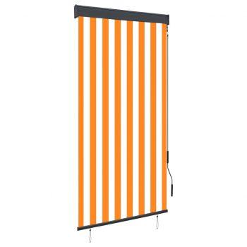 Zunanje rolo senčilo 80x250 cm belo in oranžno