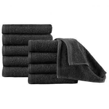 Brisače za goste 10 kosov bombaž 450 gsm 30x50 cm črne