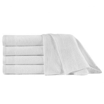 Brisače za savno 5 kosov bombaž 450 gsm 80x200 cm bele