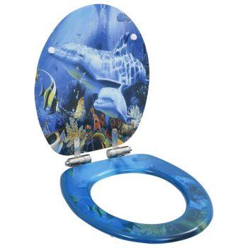 Deske za WC školjko s počasnim zapiranjem 2 kosa MDF delfini
