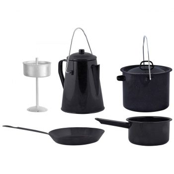 Esschert Design 4-delni komplet posode za kuhanje na ognju črn FF215