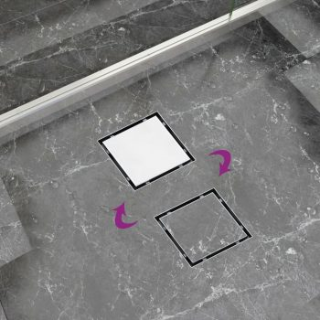Kanaleta za tuš 2 v 1 raven pokrov in vložek 12x12 cm jeklo