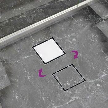 Kanaleta za tuš 2 v 1 raven pokrov in vložek 15x15 cm jeklo