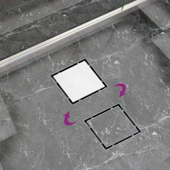 Kanaleta za tuš 2 v 1 raven pokrov in vložek 20x20 cm jeklo