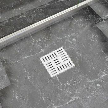 Kanaleta za tuš s karo vzorcem 15x15 cm nerjaveče jeklo