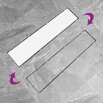 Kanaleta za tuš z 2 v 1 pokrovom 53x14 cm nerjaveče jeklo