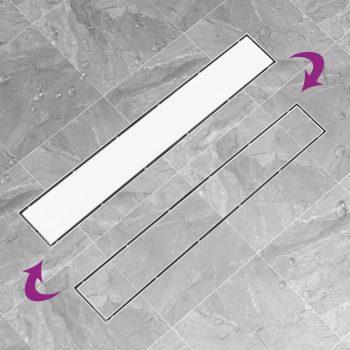 Kanaleta za tuš z 2 v 1 pokrovom 83x14 cm nerjaveče jeklo