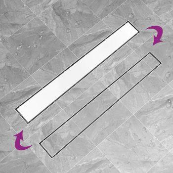 Kanaleta za tuš z 2 v 1 pokrovom 93x14 cm nerjaveče jeklo