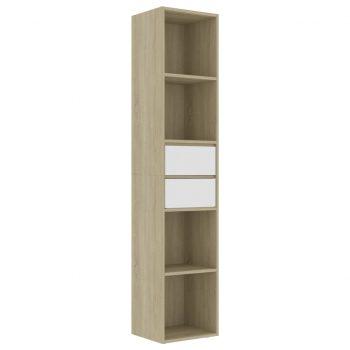 Knjižna omara bela in sonoma hrast 36x30x171 cm iverna plošča