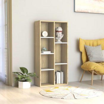 Knjižna omara bela in sonoma hrast 50x25x106 cm iverna plošča