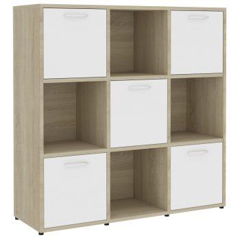 Knjižna omara bela in sonoma hrast 90x30x90 cm iverna plošča