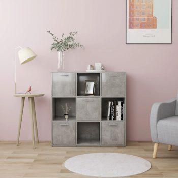 Knjižna omara betonsko siva 90x30x90 cm iverna plošča