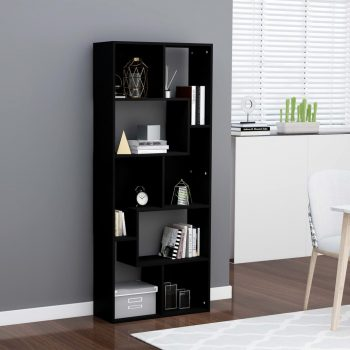 Knjižna omara črna 67x24x161 cm iverna plošča