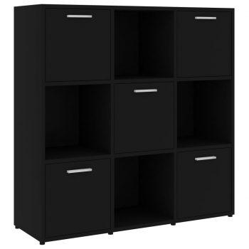 Knjižna omara črna 90x30x90 cm iverna plošča