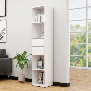 Knjižna omara visok sijaj bela 36x30x171 cm iverna plošča
