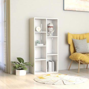 Knjižna omara visok sijaj bela 50x25x106 cm iverna plošča