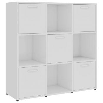 Knjižna omara visok sijaj bela 90x30x90 cm iverna plošča