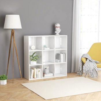 Knjižna omara visok sijaj bela 98x30x98 cm iverna plošča