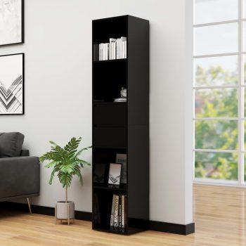 Knjižna omara visok sijaj črna 36x30x171 cm iverna plošča