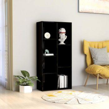 Knjižna omara visok sijaj črna 50x25x106 cm iverna plošča