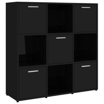 Knjižna omara visok sijaj črna 90x30x90 cm iverna plošča