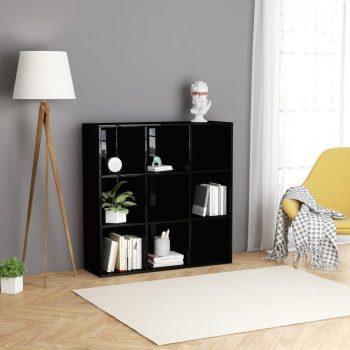 Knjižna omara visok sijaj črna 98x30x98 cm iverna plošča