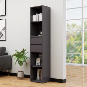 Knjižna omara visok sijaj siva 36x30x171 cm iverna plošča