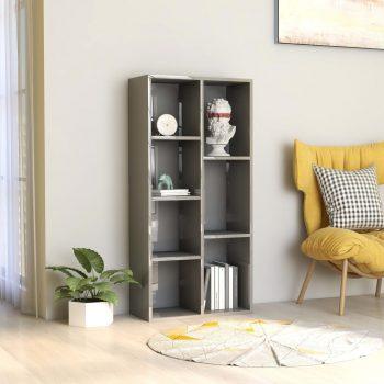 Knjižna omara visok sijaj siva 50x25x106 cm iverna plošča